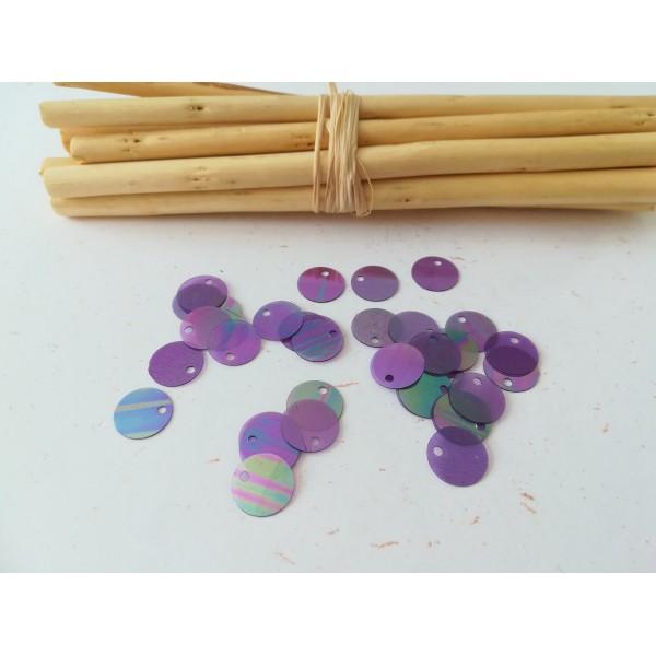 Sequins PVC violets à reflets 10 mm x 50 - Photo n°1