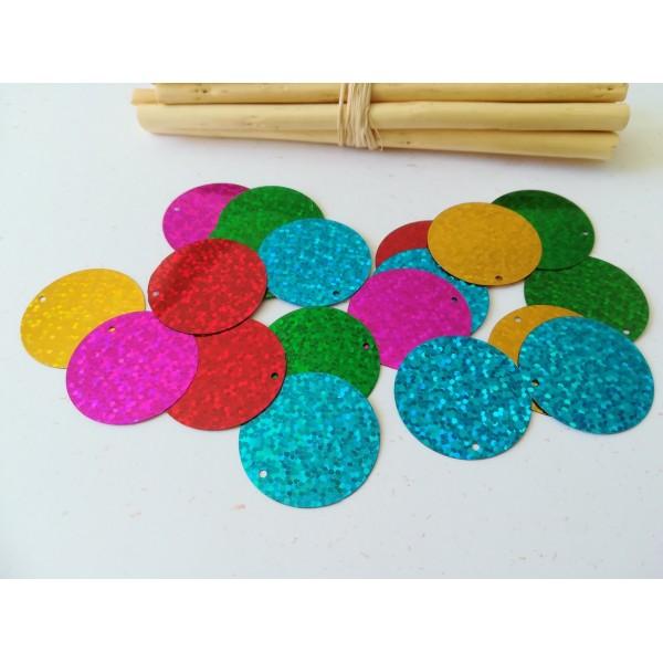 Sequins PVC paillettes multicolores à reflets 29 mm x 20 - Photo n°1
