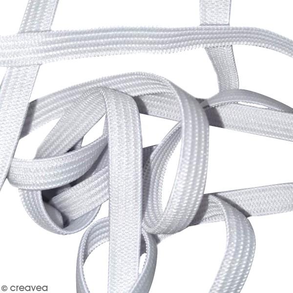 Cordon élastique pour masque - 7 mm x 5 m env. - Blanc - Photo n°2