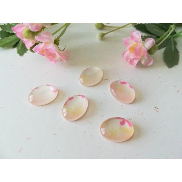 Cabochons résine ovale 13 x 8 mm beige et rose x 5 - Photo n°1