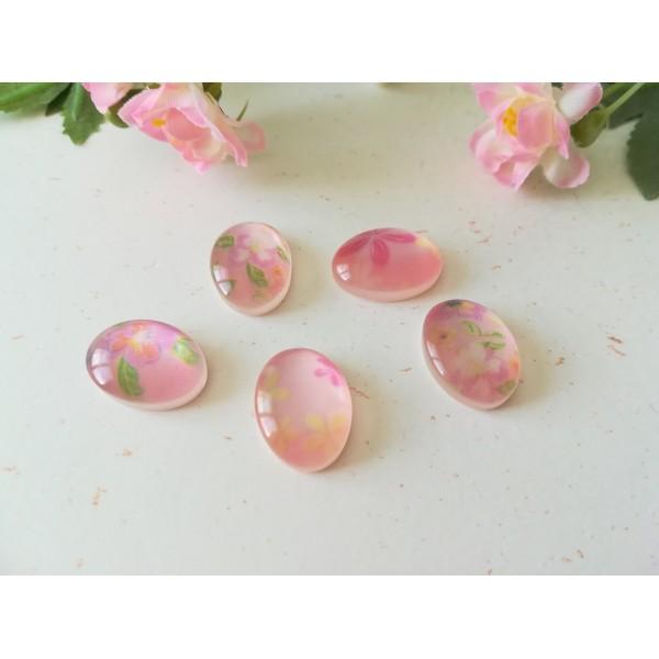 Cabochons résine ovale 13 x 8 mm rose x 5 - Photo n°1