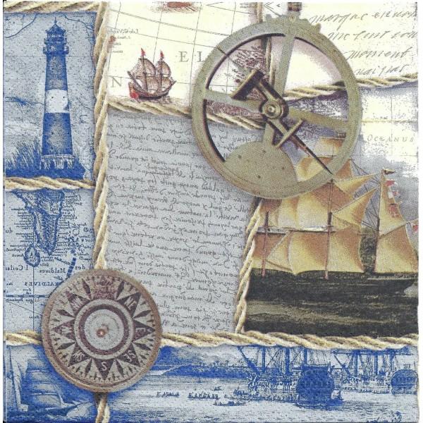 4 Serviettes en papier Mer Capitaine Voilier Format Lunch Decoupage Decopatch Ti-Flair 370527 - Photo n°1