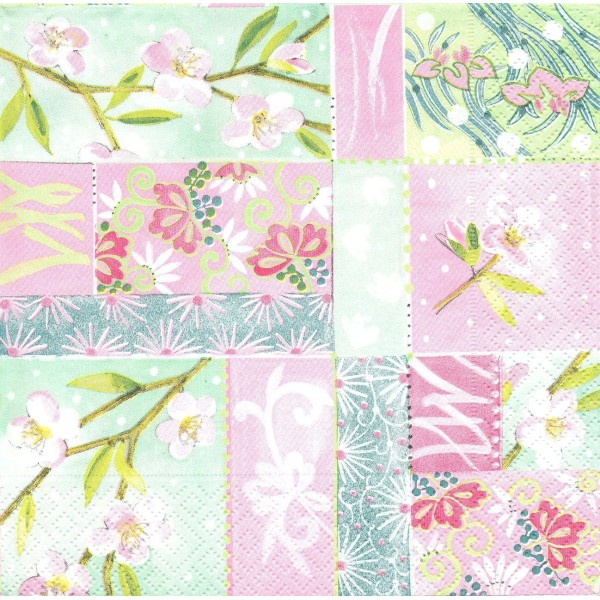 4 Serviettes en papier Printemps japonais Format Lunch Decoupage LN0299 Colourful Life - Photo n°1