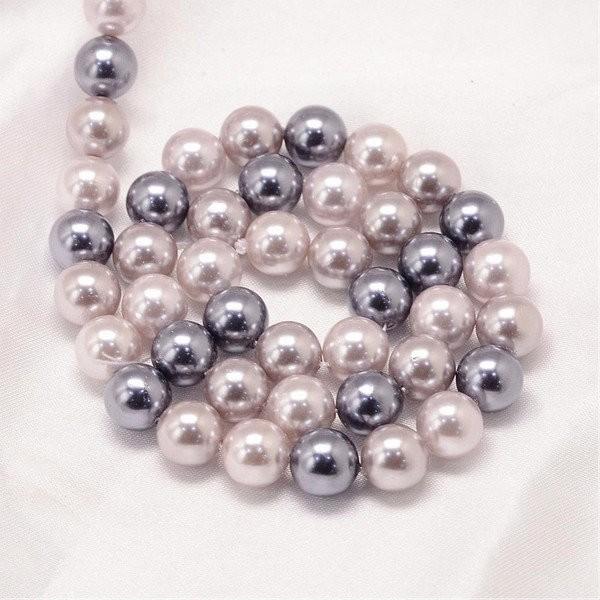 20 perles de nacre ronde 6 mm TONS GRIS - Photo n°1