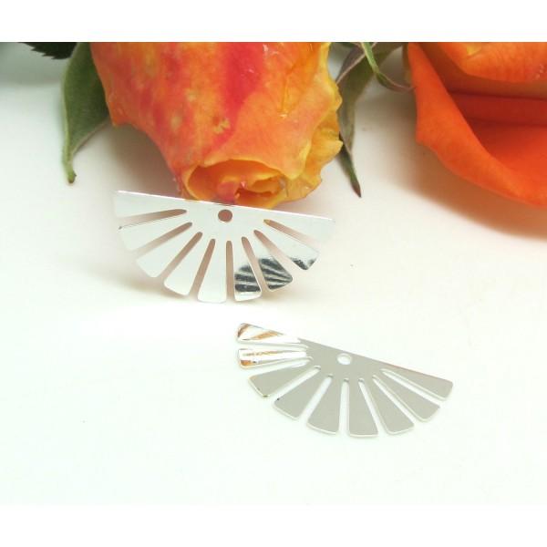 2 Pendentifs  Demi Cercle Rayons Métal Lisse Argenté Style Art Déco, 22 mm - Photo n°1