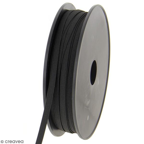Cordon élastique plat 6 mm - Noir - 50 m - Photo n°1