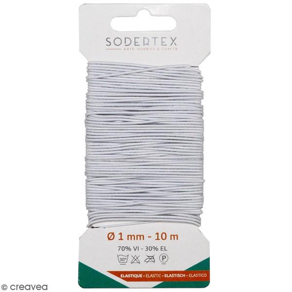 Cordon élastique rond 1 mm - Blanc - 10 m - Photo n°1