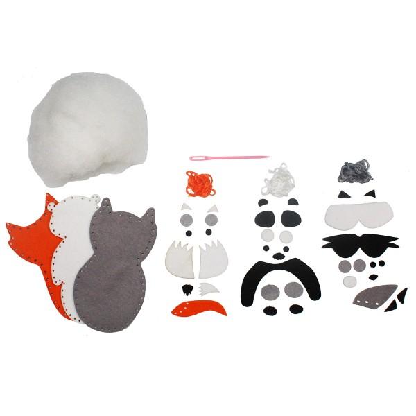Kit Couture - Renard, Panda et Raton laveur - 3 pcs - Photo n°3