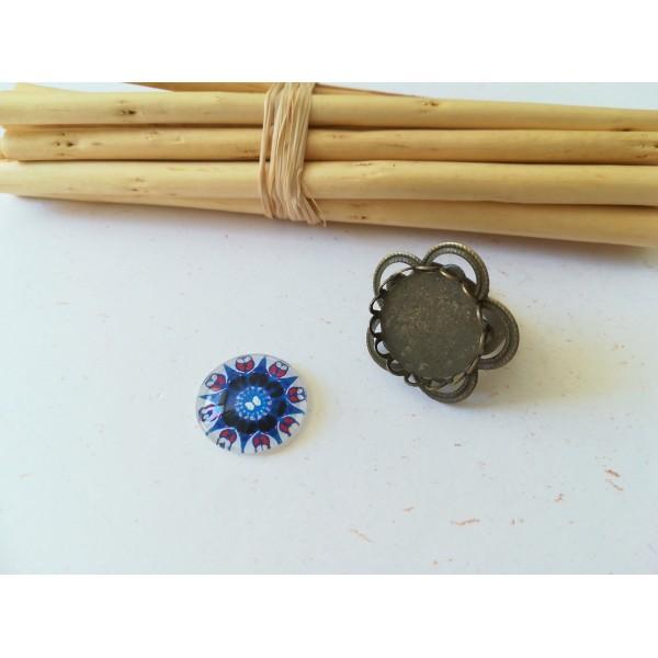 Kit bague forme fleur bronze avec cabochon verre 18 mm imprimé bleu et blanc - Photo n°1