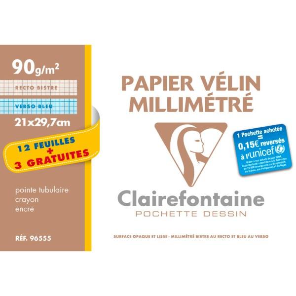 Pochette de papier millimétré - 21x29.7 - Bistre/Bleu - Photo n°1
