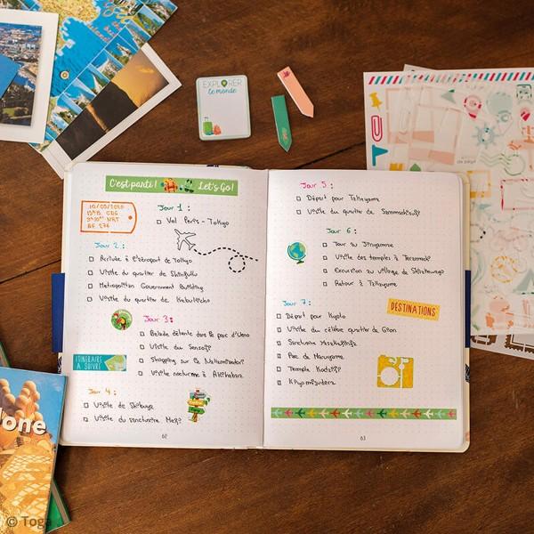 Kit Scrapbooking Formes et Stickers - Carnet de voyages - Photo n°2