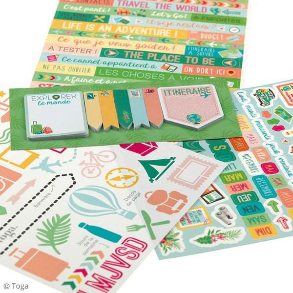Kit Scrapbooking Formes et Stickers - Carnet de voyages - Photo n°5