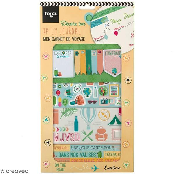 Kit Scrapbooking Formes et Stickers - Carnet de voyages - Photo n°1