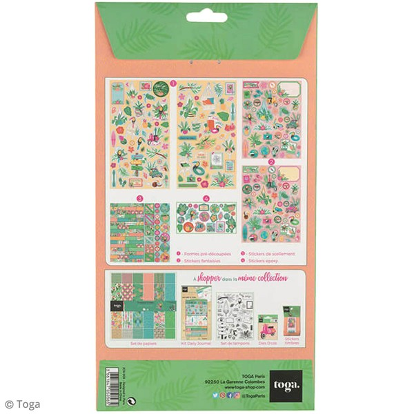Kit Scrapbooking Formes et Stickers - Tropical green - Photo n°2