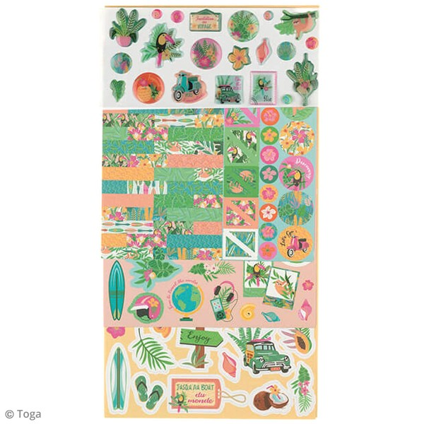 Kit Scrapbooking Formes et Stickers - Tropical green - Photo n°3