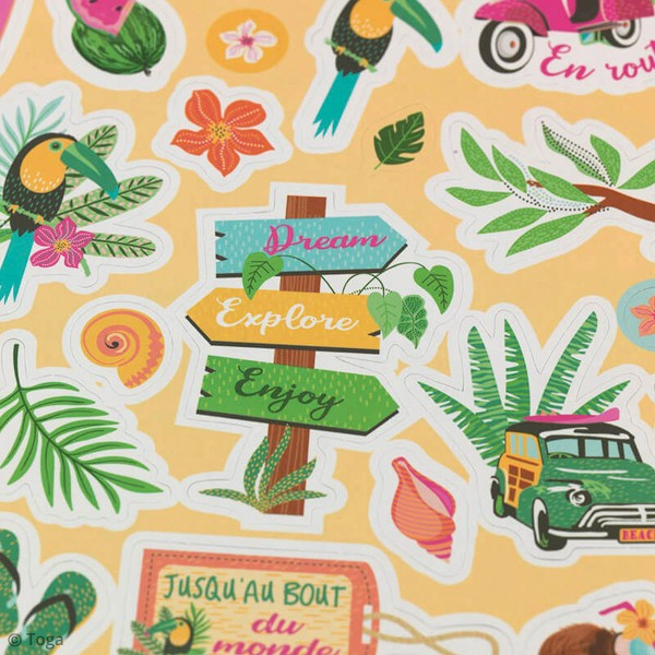 Kit Scrapbooking Formes et Stickers - Tropical green - Photo n°4