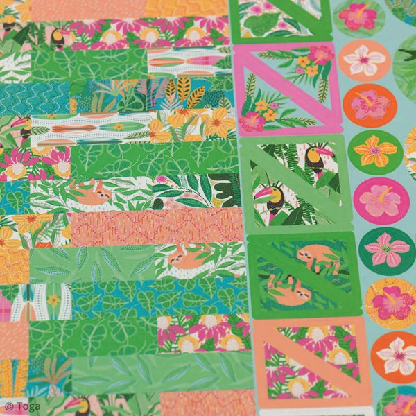 Kit Scrapbooking Formes et Stickers - Tropical green - Photo n°5
