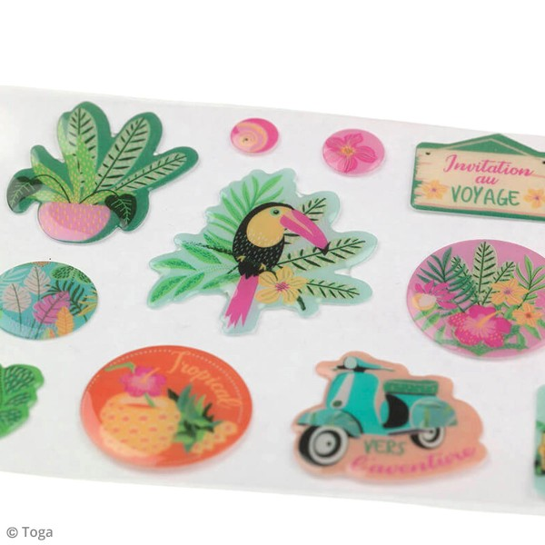 Kit Scrapbooking Formes et Stickers - Tropical green - Photo n°6