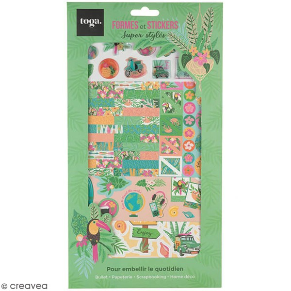 Kit Scrapbooking Formes et Stickers - Tropical green - Photo n°1