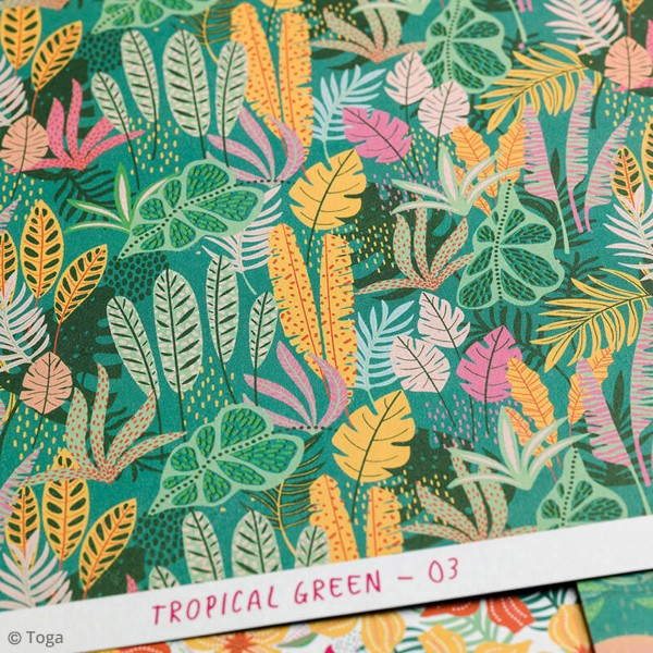 Papier scrapbooking Toga 30,5 x 30,5 cm - Tropial Green - 6 feuilles - Photo n°6