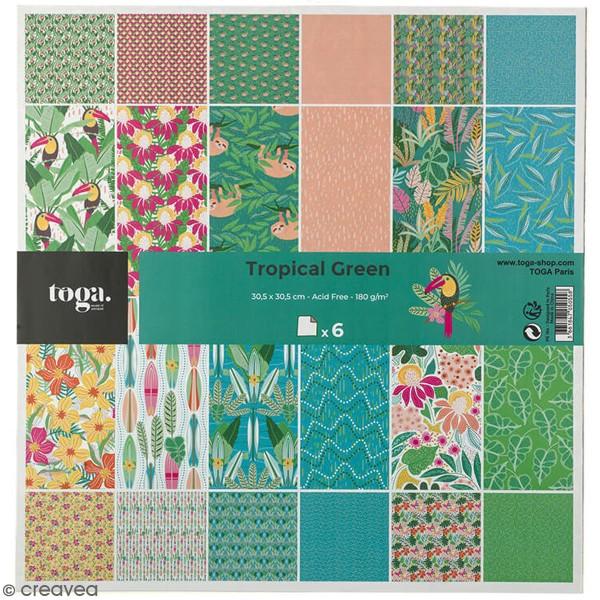 Papier scrapbooking Toga 30,5 x 30,5 cm - Tropial Green - 6 feuilles - Photo n°1