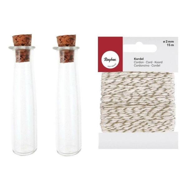 2 mini tubes à bouchon liège + Ficelle dorée & blanche 15 m - Photo n°1