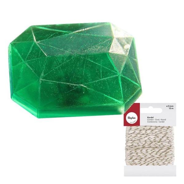 Mini moule à savon Diamant rectangle + Ficelle dorée & blanche 15 m - Photo n°1