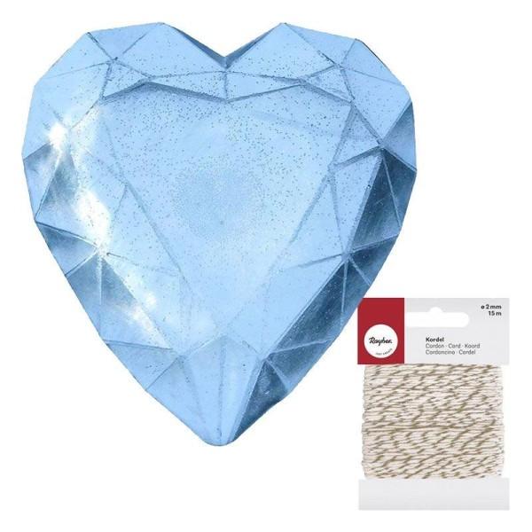 Mini moule à savon Diamant coeur + Ficelle dorée & blanche 15 m - Photo n°1