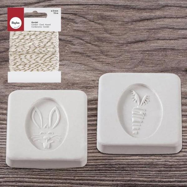 Tampons caoutchouc pour savon Lapin & carotte + Ficelle dorée & blanche 15 m - Photo n°2