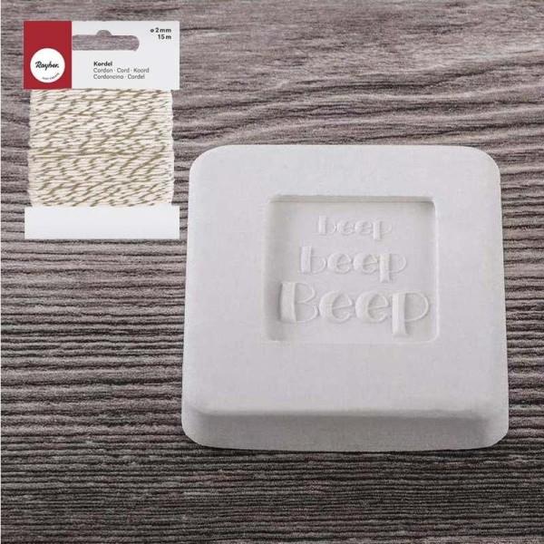 Tampon à savon poussin + Ficelle dorée & blanche 15 m - Photo n°2