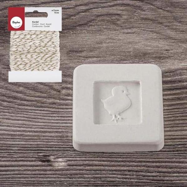 Tampon à savon poussin + Ficelle dorée & blanche 15 m - Photo n°3