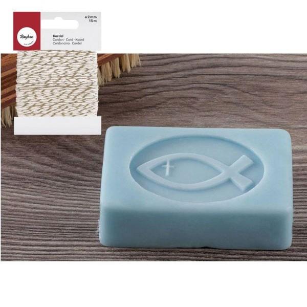 Tampon caoutchouc pour savon Poisson + Ficelle dorée & blanche 15 m - Photo n°1