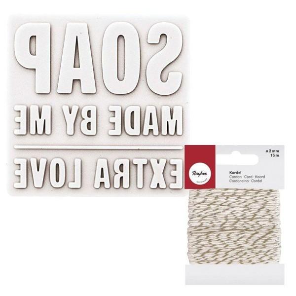 Matrice à savon carrée Extra love + Ficelle dorée & blanche 15 m - Photo n°1