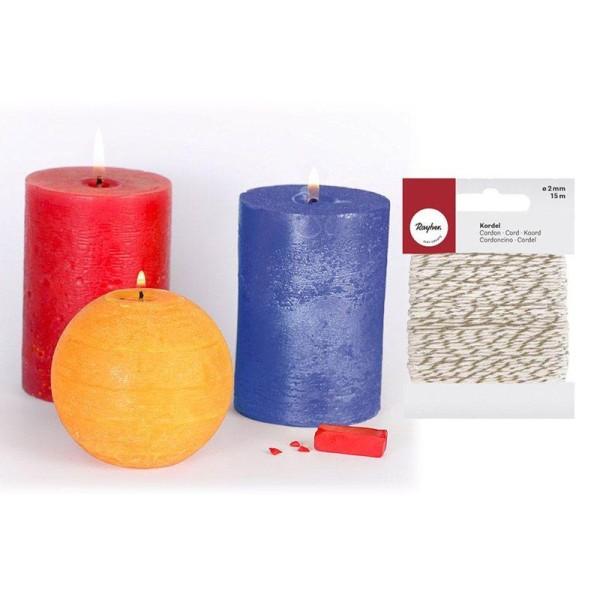 3 colorants solides à bougies Primaire + Ficelle dorée & blanche 15 m - Photo n°1