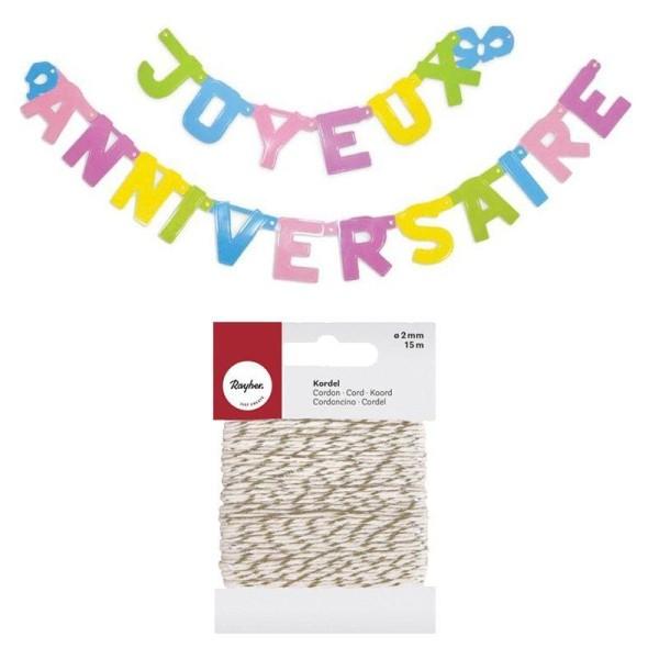 Guirlande Joyeux anniversaire 2 m + Ficelle dorée & blanche 15 m - Photo n°1