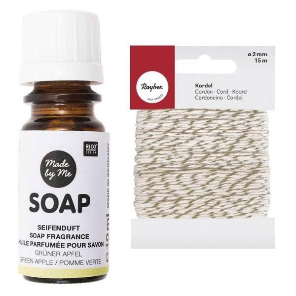 Huile parfumée pour savon à la pomme 10 ml + Ficelle dorée & blanche 15 m - Photo n°1