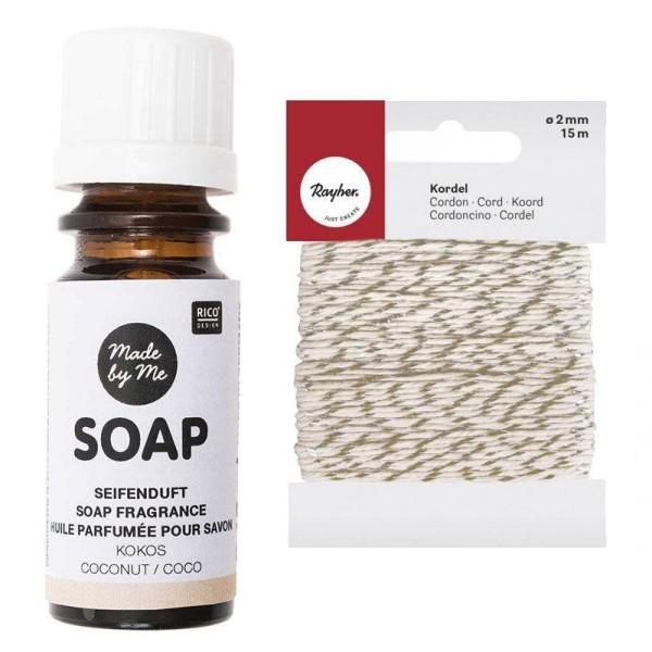 Huile parfumée pour savon à la noix de coco 10 ml + Ficelle dorée & blanche 15 m - Photo n°1