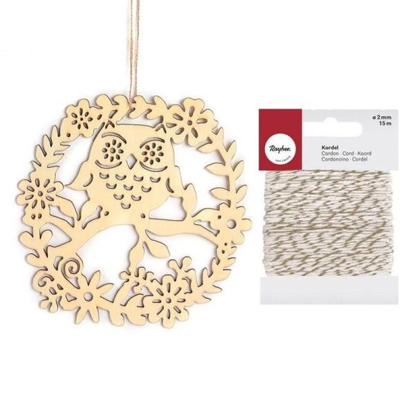 Décor à suspendre en bois 22 x 22 cm Hibou + Ficelle dorée & blanche 15 m - Photo n°1
