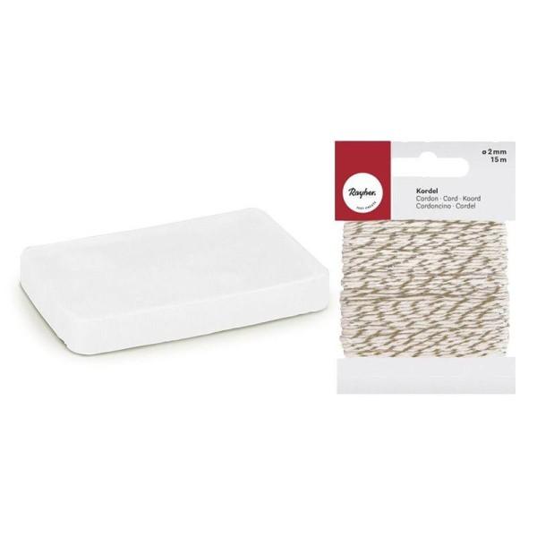 Savon à mouler 100 g Translucide + Ficelle dorée & blanche 15 m - Photo n°1