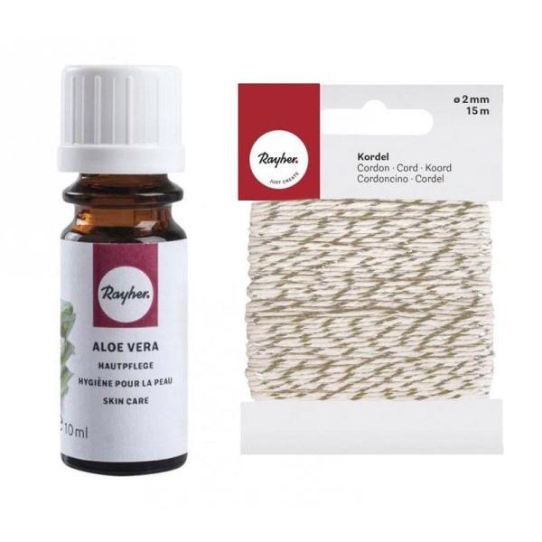 Huile de bain pour savon 10 ml Aloe Vera + Ficelle dorée & blanche 15 m - Photo n°1