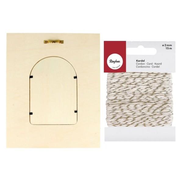 Cadre à photo bois 18 x 22 cm Fenêtre arrondie + Ficelle dorée & blanche 15 m - Photo n°3