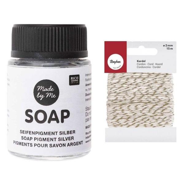 Pigment argenté pour savon 20 ml + Ficelle dorée & blanche 15 m - Photo n°1