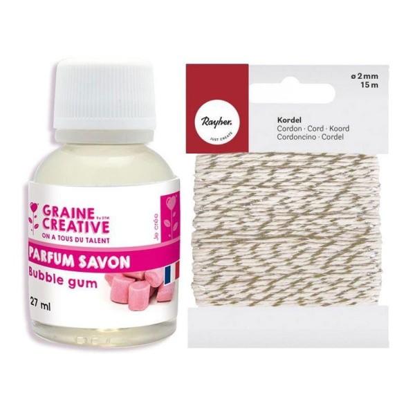 Parfum pour savon 27 ml Chewing-gum + Ficelle dorée & blanche 15 m - Photo n°1