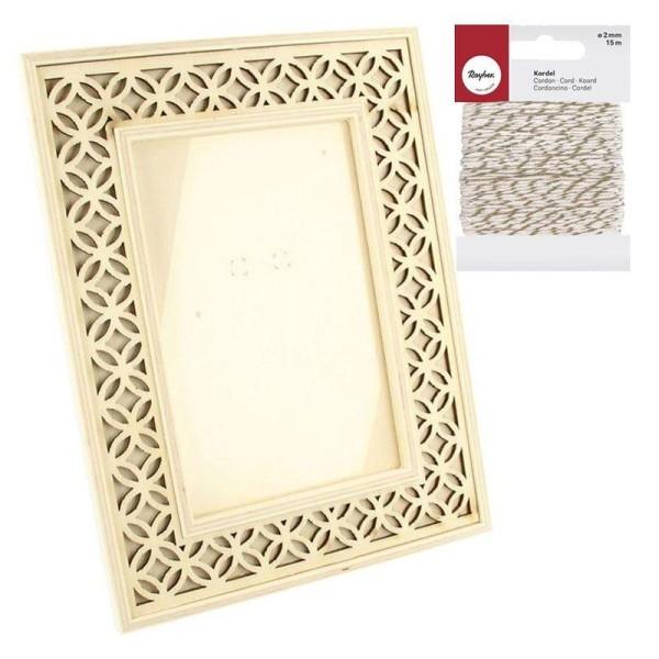 Cadre photo bois ajouré 16 x 21 cm + Ficelle dorée & blanche 15 m - Photo n°1