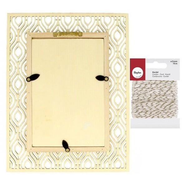 Cadre photo bois 17 x 22 cm ethnique + Ficelle dorée & blanche 15 m - Photo n°2