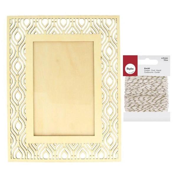 Cadre photo bois 17 x 22 cm ethnique + Ficelle dorée & blanche 15 m - Photo n°1