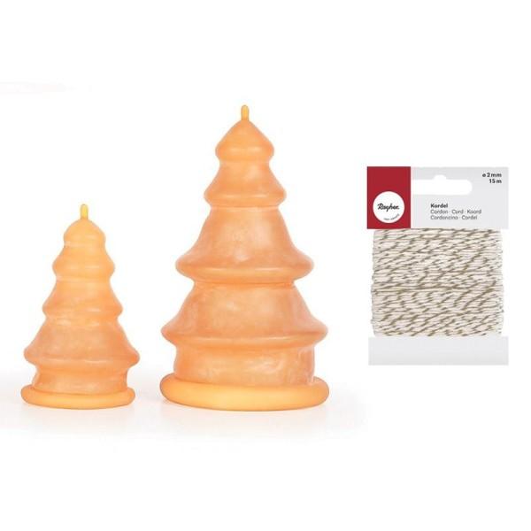 2 moules à bougie en latex Sapins + Ficelle dorée & blanche 15 m - Photo n°1