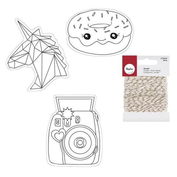 Kit plastique dingue Kawaï + Ficelle dorée & blanche 15 m - Photo n°1