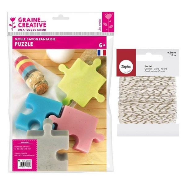 Mini moule à savon Puzzle + Ficelle dorée & blanche 15 m - Photo n°1