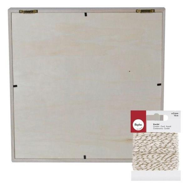 Cadre décoratif cygne 30 x 30 cm + Ficelle dorée & blanche 15 m - Photo n°2
